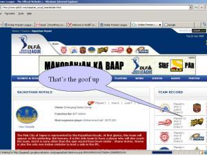 IPL\'s official website goofs up